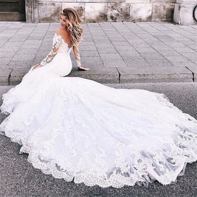 Mermaid Tulle Lace Appliques Sexy Off The Shoulder Long Sleeve Wedding Dresses_5