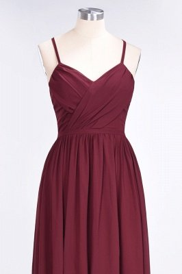 Elegant Princess Chiffon Spaghetti-Straps V-Neck Sleeveless Floor-Length Bridesmaid Dress with Ruffles_4