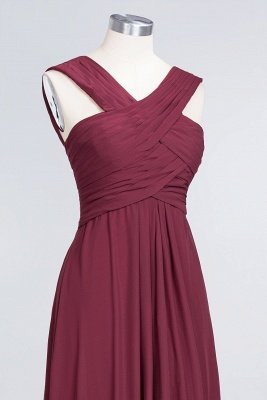 Elegant Princess Chiffon V-Neck Straps Sleeveless Floor-Length Bridesmaid Dress with Ruffles_5