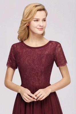 A-line Chiffon Lace Jewel Short-Sleeves Floor-length Bridesmaid Dress_38