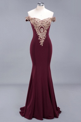 Elegant Mermaid Off-The-Shoulder Floor-Length Mermaid Appliques Zipper Prom Dress_2