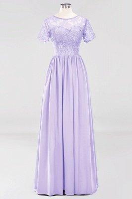 A-line Chiffon Lace Jewel Short-Sleeves Floor-length Bridesmaid Dress_20
