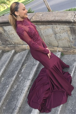 Unique Long Sleeves High Neck Mermaid Prom Dress_2