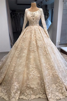 Gorgeous Scoop Long Sleeves Lace Appliques Ball Gown Wedding Dresses