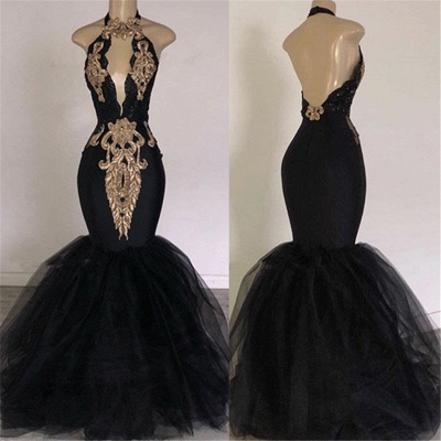 Open Back Long Prom Dresses Cheap with Gold Appliques | Mermaid Halter Evening Gowns with Keyhole_3