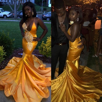 Mordern V-Neck Lace Appliques Spaghetti Straps Sexy Mermaid Lace Prom Dresses_3