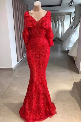 Glamorous V-Neck Long Sleeves Lace Appliques Beads Sexy Mermaid Floor-Length Prom Dresses