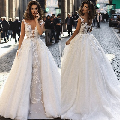 Modern Sleeveless Lace Wedding Dresses Cheap | Fluffy Tulle Overskirt Sexy Illsuion Bridal Gowns_4