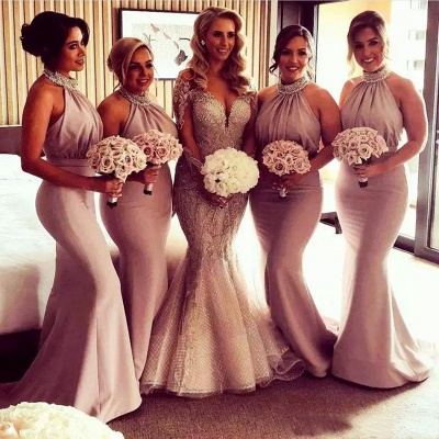 Glamorous Halter Sexy Mermaid Bridesmaid Dresses | Sexy Ruched Long Wedding Party Dresses_3