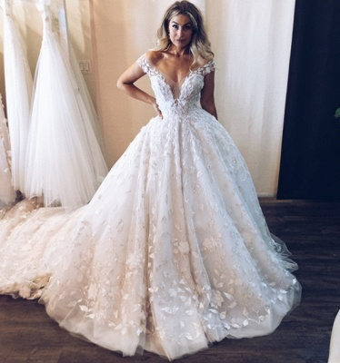New Arrival Off The Shoulder V-Neck Lace Appliques Tulle Cheap Ball Gown Wedding Dresses_3