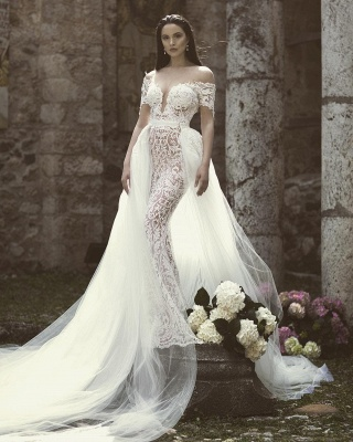 Modern Off The Shoulder V-Neck Lace Appliques Tulle Sexy Mermaid Floor Length Cheap Wedding Dresses_3