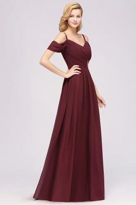 Chiffon V-Neck Spaghetti Straps Short-Sleeves Floor-Length Bridesmaid Dresses with Ruffles_4