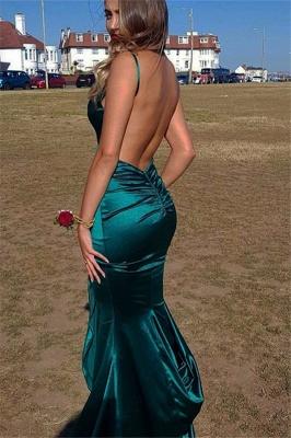 Gorgeous Spaghetti Straps V-Neck Backless Sleeveless Sexy Mermaid Floor-Length Prom Dresses_3