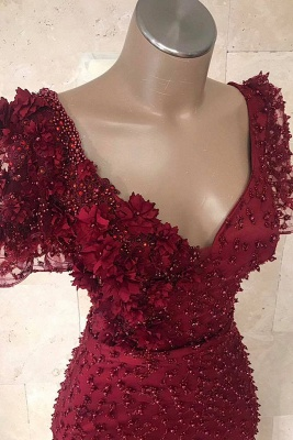 Mordern V-Neck Short Sleeves Beads Flower Sexy Mermaid Floor-Length Prom Dresses_3