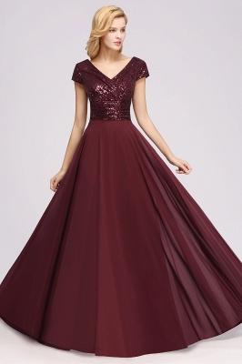 Elegant A-Line Burgundy Chiffon Sequined V-Neck Sleeveless Ruffles Floor-Length Bridesmaid Dresses_5
