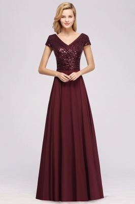 Elegant A-Line Burgundy Chiffon Sequined V-Neck Sleeveless Ruffles Floor-Length Bridesmaid Dresses_1