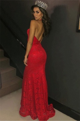 Charming Halter Sleeveless Sexy Mermaid Deep V-Neck Lace Appliques Prom Dresses_3