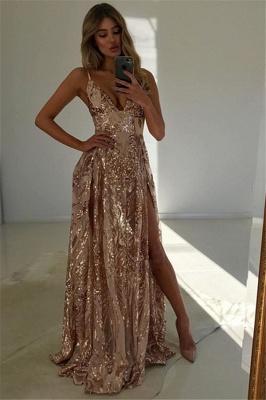 Glamorous V-Neck Spaghetti Straps Front Split A-Line Sleeveless Prom Dresses_1