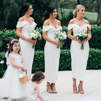 Off The Shoulder Sexy Bridesmaid Dresses | Front Split Cheap White Maid of Honor Dress_3