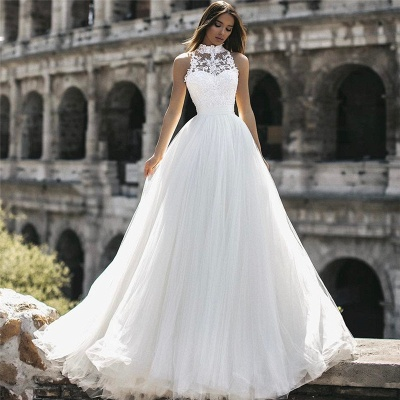 Mordern High Neck Sleeveless Lace Appliques A-Line Floor-Length Wedding Dresses
