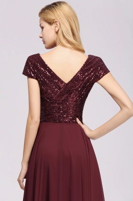 Elegant A-Line Burgundy Chiffon Sequined V-Neck Sleeveless Ruffles Floor-Length Bridesmaid Dresses_8