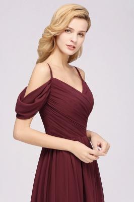 Chiffon V-Neck Spaghetti Straps Short-Sleeves Floor-Length Bridesmaid Dresses with Ruffles_6