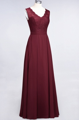 Elegant Princess Chiffon Lace V-Neck Sleeveless Floor-Length Bridesmaid Dress_4