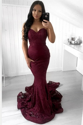 Glamorous Sleeveless Strapless Lace Appliques Sexy Mermaid Sweep Train Prom Dresses