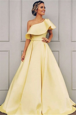 Mordern One Shoulder A-Line Sweep Train Prom Dresses BC0958