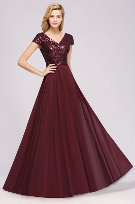 Elegant A-Line Burgundy Chiffon Sequined V-Neck Sleeveless Ruffles Floor-Length Bridesmaid Dresses_4