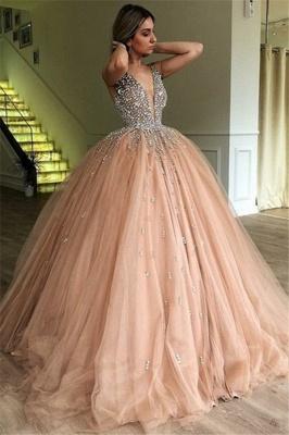 New Arrival V-Neck Straps Sleeveless Rhinestones Tulle Ball Gown Prom Dresses_1