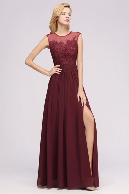 A-line Chiffon Lace Jewel Sleeveless Floor-Length Bridesmaid Dresses with Appliques_4