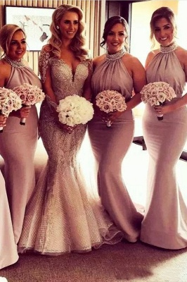 Glamorous Halter Sexy Mermaid Bridesmaid Dresses | Sexy Ruched Long Wedding Party Dresses_2