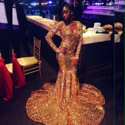 Cheap Long  Mermaid Scoop Sweep Train Prom Dresses_3