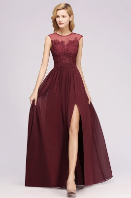 A-line Chiffon Lace Jewel Sleeveless Floor-Length Bridesmaid Dresses with Appliques_3