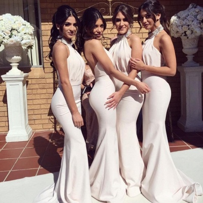Glamorous Halter Sexy Mermaid Bridesmaid Dresses | Sexy Ruched Long Wedding Party Dresses_4