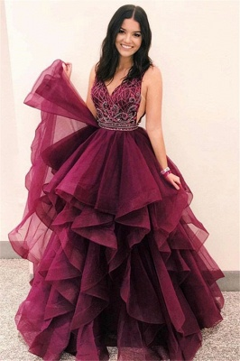 Gorgeous V-Neck Sleeveless Lace Appliques Tulle A-Line Floor-Length Prom Dresses_1