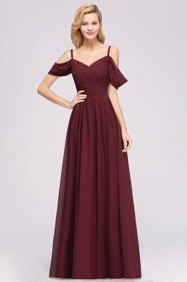 Chiffon V-Neck Spaghetti Straps Short-Sleeves Floor-Length Bridesmaid Dresses with Ruffles_1