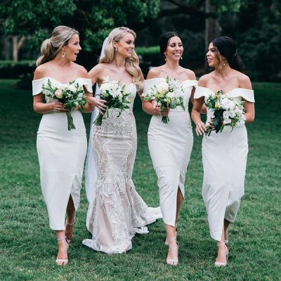 Off The Shoulder Sexy Bridesmaid Dresses | Front Split Cheap White Maid of Honor Dress_4