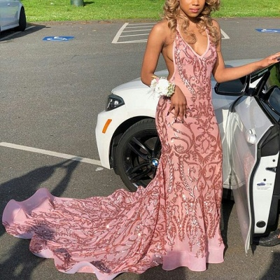 Gorgeous Deep V-Neck Halter Sleeveless Lace Appliques Sexy Mermaid Prom Dresses_3
