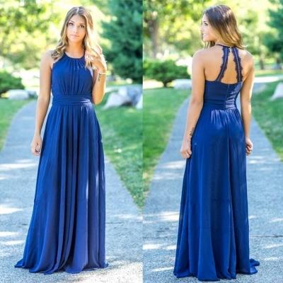 Ocean Blue Halter Chiffon Cheap Bridesmaid Dresses |  Open Back Floor-length Bridesmaid Dresses_3