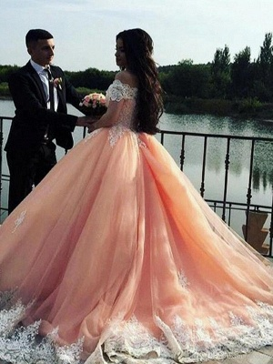 Mordern Off-the-Shoulder Lace Appliques Ball Gown Tulle Sweep Train Prom Dresses_4