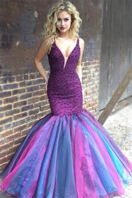 Mordern V-Neck Sleeveless Spaghetti Straps Rhinestones Sexy Mermaid Floor-Length Prom Dresses