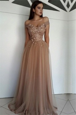 Glamorous Off-the-Shoulder Beads Lace Appliques Tulle A-Line Floor-Length Prom Dresses