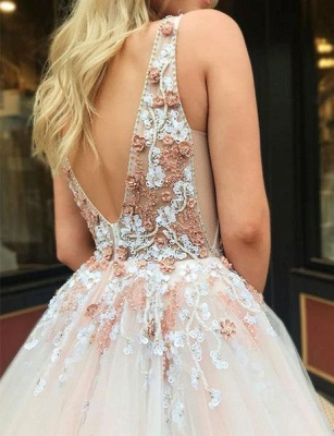 Gorgeous A-Line Straps V-Neck Sleeveless Beads Lace Appliques Floor-Length Prom Dresses_5