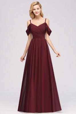 Chiffon V-Neck Spaghetti Straps Short-Sleeves Floor-Length Bridesmaid Dresses with Ruffles_3