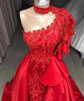 Gorgeous One Shoulder Halter Lace Appliques Sequins A-Line Floor-Length Prom Dresses