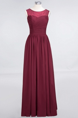 Elegant Princess Chiffon Tulle Lace Scoop Sleeveless Floor-Length Bridesmaid Dress with Ruffle_4