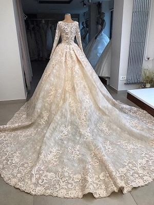 Gorgeous Long Sleeve Lace Appliques Retro Ball Gown Wedding Dresses Cheap_3
