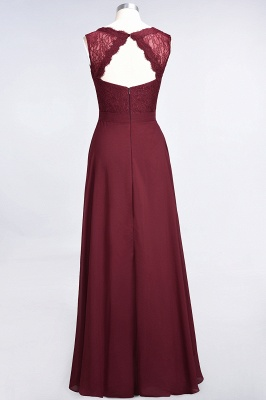 Elegant Princess Chiffon Lace V-Neck Sleeveless Floor-Length Bridesmaid Dress_3